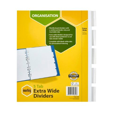 DIVIDERS 5 INSERT TAB EXTRA WIDE COLOURED  A4  MARBIG