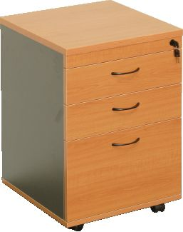 RAPID WORKER MOBILE PEDESTAL - 2 PERSONAL DRAWERS + 1 FILE DRAWER  CHERRY/IRONSTONE