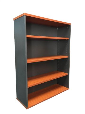 RAPID WORKER OPEN BOOKCASE - 900MM W X 315MM D X 1200MM H - CHERRY/IRONSTONE