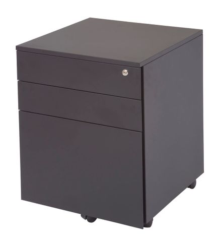 RAPIDLINE 3 DRAWER STEEL MOBILE PEDESTAL 610MM H X 460MM W X 475MM D - 2 PERSONAL DRAWERS - 1 FILE DRAWER BLACK RIPPLE