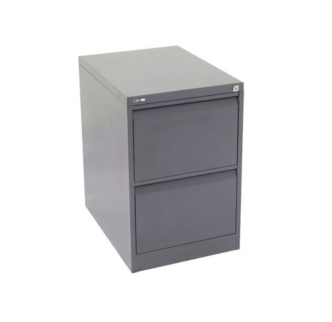 GO HEAVY DUTY 2 DRAWER FILING CABINET - GRAPHITE RIPPLE