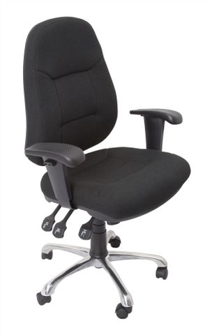 F300 COMMERCIAL GRADE OPERATOR CHAIR - FULLY ERGONOMIC - 130 KG WEIGHT RATING - BLACK FABRIC