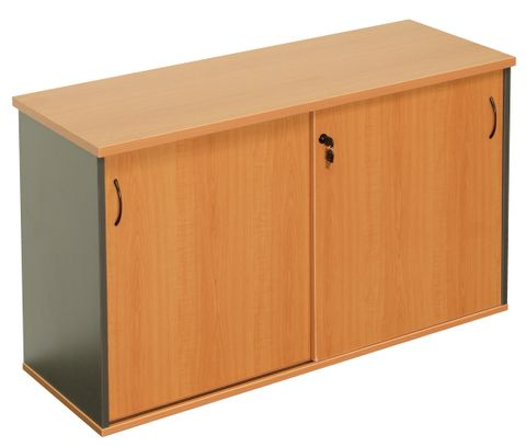 RAPID WORKER SLIDING DOOR CREDENZA - 1500MM W X 450MM D X 730MM H - CHERRY/IRONSTONE