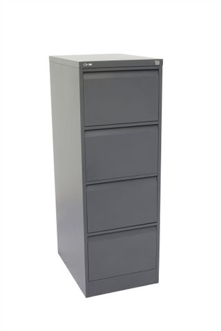 GO HEAVY DUTY 4 DRAWER FILING CABINET - GRAPHITE RIPPLE
