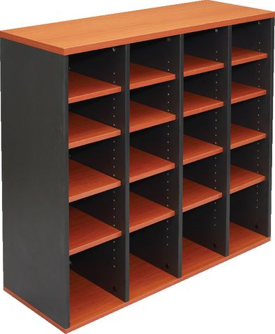 PIGEON HOLE UNIT - INCLUDES 16 ADJUSTABLE SHELVES PROVIDING 20 STORAGE HOLES - DIVIDED OVER 4 VERTICLE SECTIONS 1040MM W X 380MM D X 1040MM H CHERRY/IRONSTONE