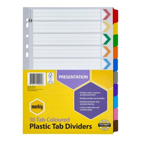 MARBIG MANILLA DIVIDERS REINFORCED COLOURED  A4 10 TAB - 9312311192253