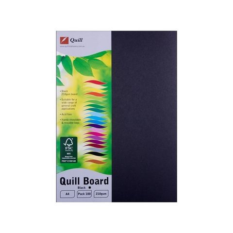 QUILL BOARD BLACK A4 210GSM PK100