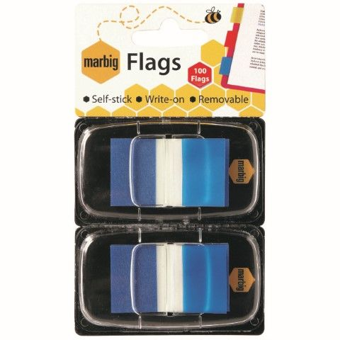 MARBIG FLAGS - POP UP 25X44MM 2 X 50 TRANSPARENT BLUE-cqs15 - 9312311172033
