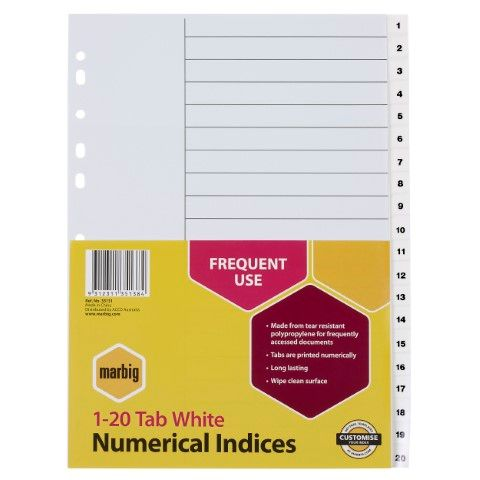 MARBIG INDICES WHITE PP A4 1-20TAB -CQS19 - 9312311351384