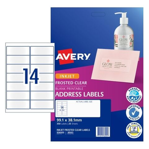 AVERY LABEL INKJET A4 99X38MM CLEAR 936005