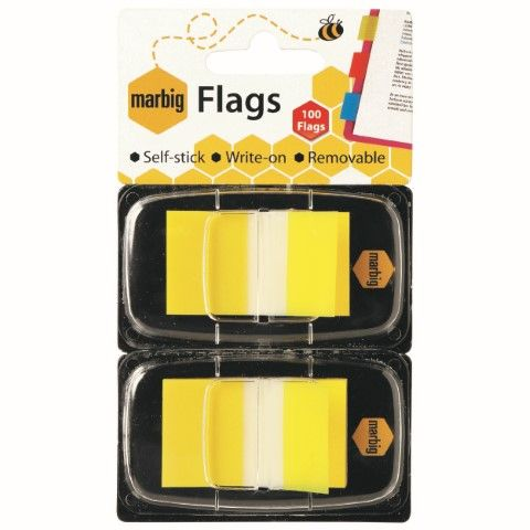 MARBIG FLAGS - POP UP 25X44MM 2PK X50 TRANSPARENT YELLOW-cqs15 - 9312311172019