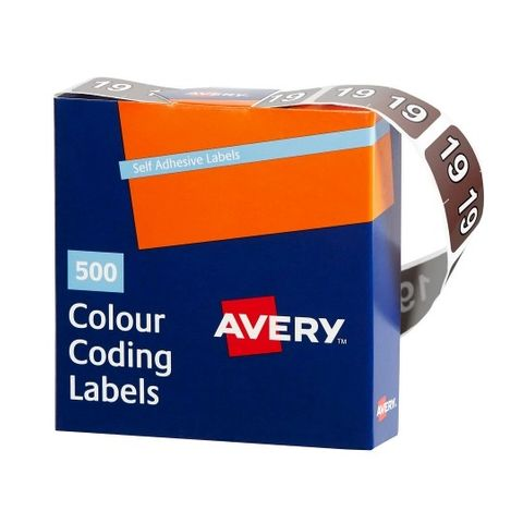 AVERY COLOUR CODING LABELS - YEAR 2019 BX500