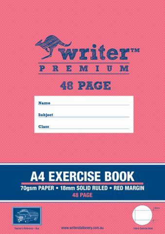 WRITER A4 EXERCISE BOOK 18MM SOLID RULED 48 PAGES