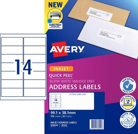 AVERY LABEL 14UP J8163 WHITE 99X38MM 936044