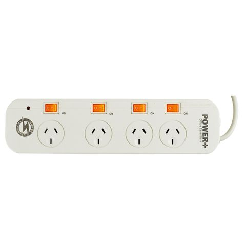 POWERBOARD 4 OUTLET SAFETY OVERLOAD PROTECTION WITH INDIVIDUAL SWITCHES 0.9M LEAD