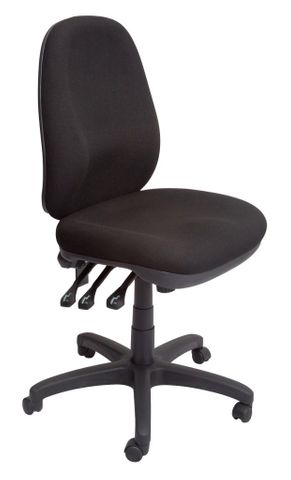 PO500 HD COMMERCIAL GRADE OPERATOR CHAIR - HIGH BACK150 KG WEIGHT RATING - BLACK FABRIC