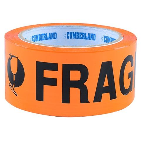 FRAGILE TAPE 48MM - FLURO 66 METRES