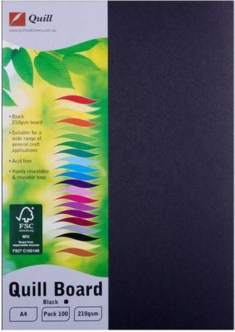 QUILL MULTIBOARD BLACK A4 PK100 210GSM