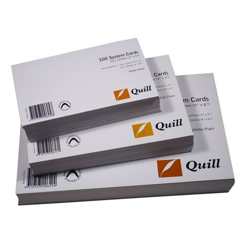 PLAIN WHITE 6X4 SYSTEM CARD PK100 150X100MM