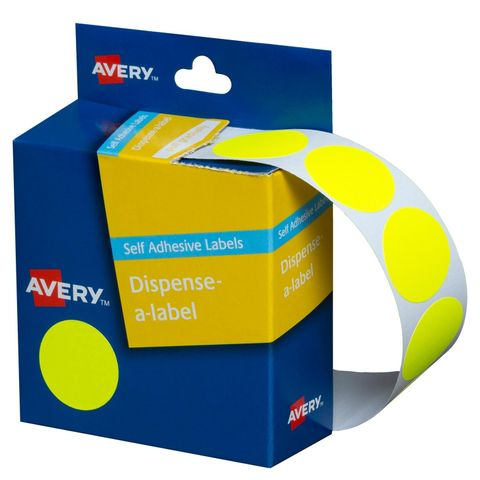 24MM AVERY FLUORO YELLOW CIRCLE LABEL BX350