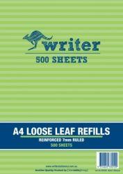 WRITER NB6006 PK500 LOOSE LEAF REFILLS 7MM