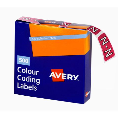 AVERY COLOUR CODING LABEL LETTER N BX500