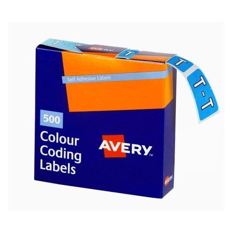 AVERY COLOUR CODING LABEL LETTER T  BX500 43220 **CS**