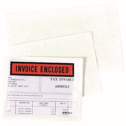 MARBIG INVOICE ENCLOSED 115X150MM BX 1000 INVOICE ENCLOSED-cqs9