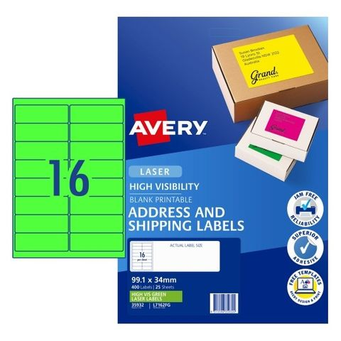 AVERY LABEL LASER A4 16UP FLUORO GREEN PACK 25 L7162FG