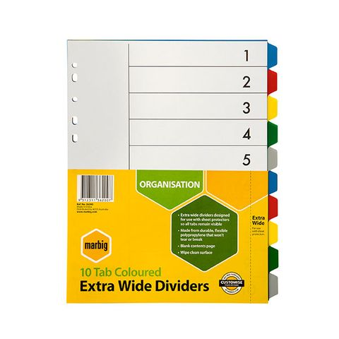 DIVIDERS 10 TAB A4 EXTRA WIDE PP MARBIG