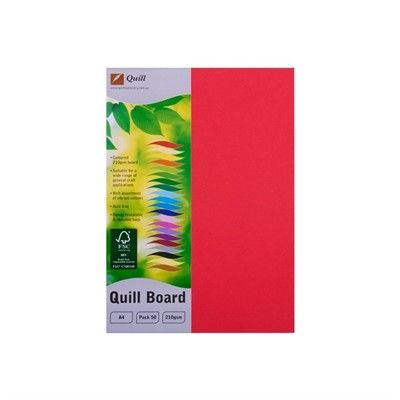 BOARD XL A4 210GSM RED PK50  QUILL