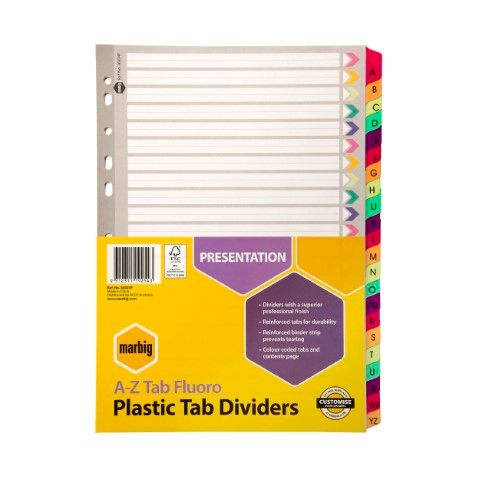 MARBIG MANILLA DIVIDERS REINFORCED A4 A-Z FLURO COLOURS - 9312311192543