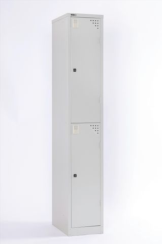 GO EXTRA LARGE TWO TIER LOCKER - ASSEMBLED 1830MM H X 380MM W X 455MM D -  SILVER GREY