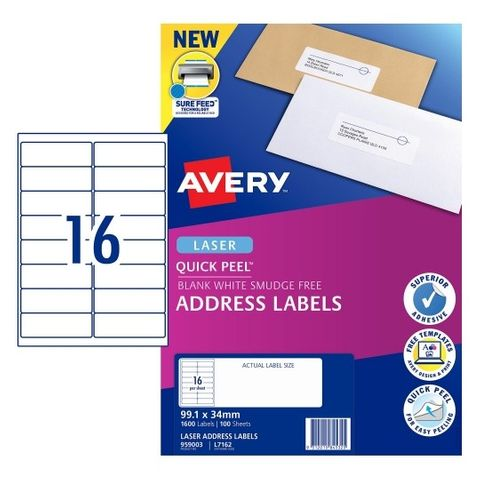 AVERY 16UP LASER LABELS 959003 PK100 / L7162 99X34MM WHITE