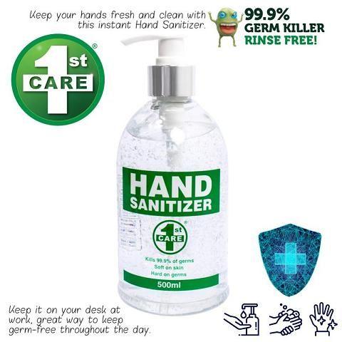 HAND SANITIZER 1ST CARE 500ML PUMP ACTION 62-65% ALCOHOL