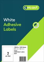 CELCAST 48002 2UP LABEL 199.6 X 143.5MM PK100 SHEETS