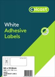 CELCAST 48024 24UP LABEL 64 X 33.8MM WHITE BOX 100 SHEETS