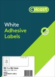 CELCAST 48014 14UP LABEL 99.1 X 38.1MM WHITE BOX 100 SHEETS