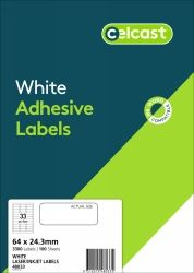 CELCAST 48033 33UP LABEL 64 X 24.3MM WHITE BOX 100 SHEETS