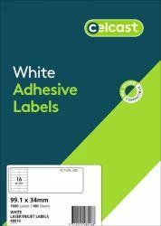 CELCAST 48016 16UP LABEL 99.1 X 34MM WHITE BOX 100