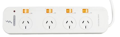 POWERBOARD 4 OUTLET WITH INDIVIDUAL SWITCH SURGE PROTECTION