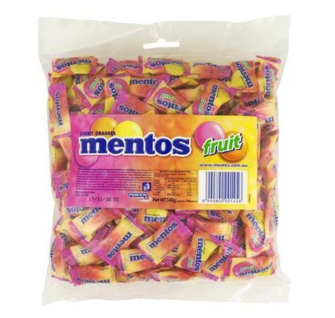 MENTOS FRUITS 540GM BAG PILLOWPACK