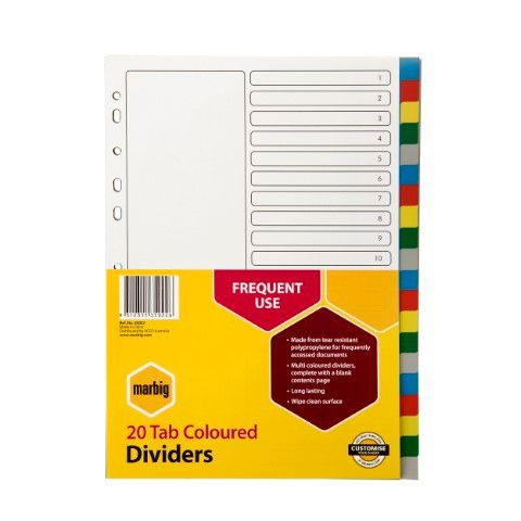 MARBIG DIVIDERS PP A4 20 TAB MULTI COLOURED - 9312311350226