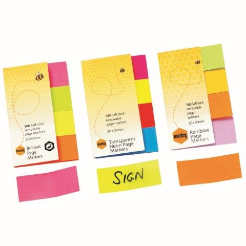 MARBIG NEON TRANSPARENT PAGE MARKER 20X50MM