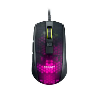 BLACK MEET THE ROCCAT BURST PRO EXTREME LIGHTWEIGHT OPTICAL PRO GAMING MOUSE. LIGHT BY DESIGN WITH A SYMMETRICAL ERGONOMIC SHAPE AND TRANSLUCENT HONEYCOMB SHELL THAT KEEPS WEIGHT DOWN TO 68G.