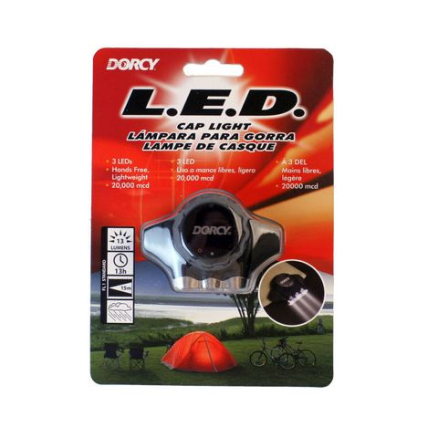"""""""DORCY LED CAP LIGHT POWERFUL 3 LEDS, PERFECT FOR HANDS FREE WORK,GREAT FOR CYCLISTS, CLIPS ONTO MOST SURFACES, 13 LUMEN, 13HOUR RUN TIME, 25M BEAM DISTANCE"""""""