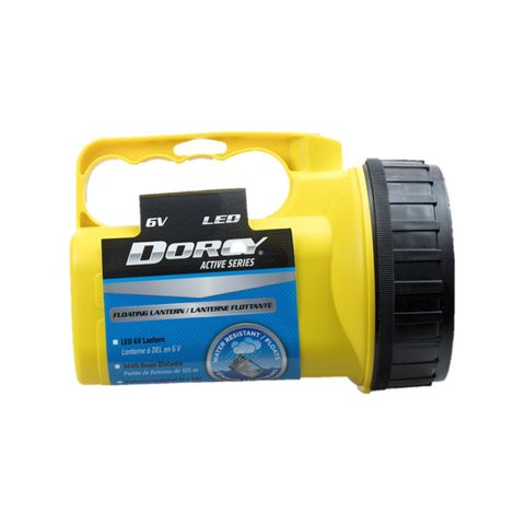 """""""DORCY D2080 FLOATING LANTERN, DURABLE CONSTRUCTION, SEALED ON/OFF BUTTON, 100 LUMENS, 90HR RUN TIME, 105M BEAM DISTANCE, COMFORTABLE GRIP, IMPACT RESISTANT, ANTI ROLL DESIGN, WEATHER RESISTANT, FLOATS, 4AA BATTERIES AND 6V ADAPTOR INCLUDED. """""""