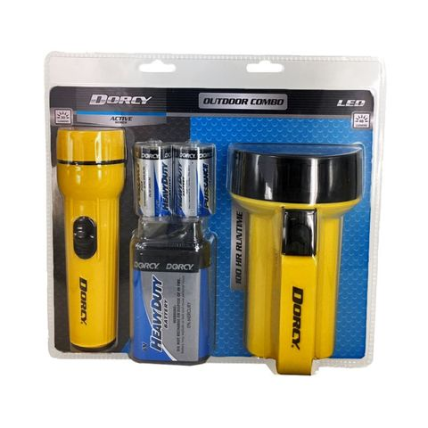 """""""DORCY OUTDOOR LANTERN AND TORCH COMBO PACK, READY TO GO, FLOATING LANTERN AND EVERYDAY TORCH, BATTERIES INCLUDED, LANTERN 40 LUMEN, TORCH 30 LUMEN"""""""