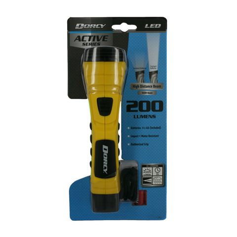 """""""DORCY 200 LUMEN CYBERLIGHT, DURABLE CONSTRUCTION, SUPER BRIGHT LEDS, TRUE SPOT TECHNOLOGY PROVIDING A MORE ACCURATE BEAM OF LIGHT, WEATHER,WATER,IMPACT RESISTANT, 200 LUMEN, 5HRS OF RUN TIME, 270M BEAM"""""""