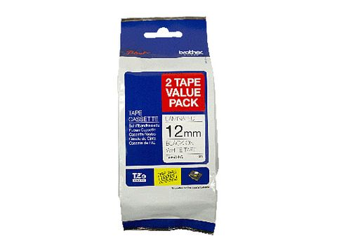 DYN-TZE231V2 TZE231V2 BROTHER 12MM BLACK TEXT ON WHITE TAPE TWIN PACK - 8 METRES EACH- CQS15